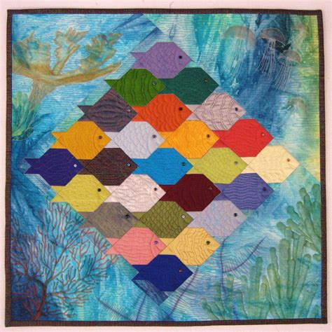Patchwork Fish Pattern - fish fish shark 20 x 20 quot quilt by think