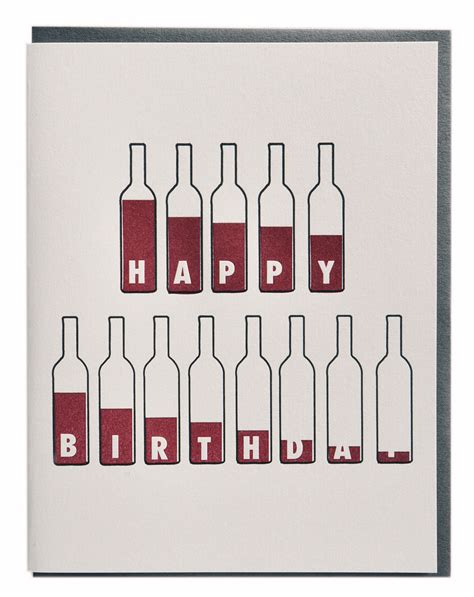 wine birthday bottle of wine birthday card wine lovers letterpress