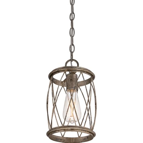 Quoizel Pendant Lighting Dury Century Silver Leaf One Light Mini Pendant Quoizel