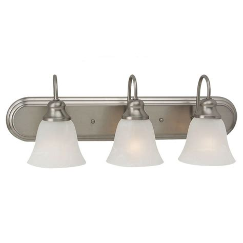 Nickel Bathroom Lights Sea Gull Lighting Windgate 3 Light Brushed Nickel Vanity Fixture 44941 962 The Home Depot