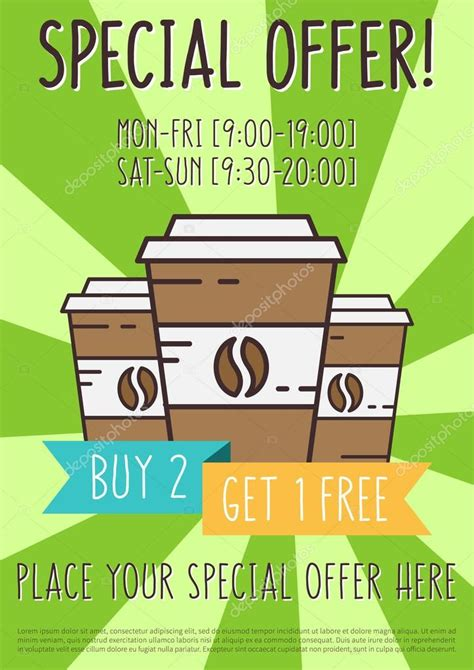 promo coffee shop vector template special offer for cafe