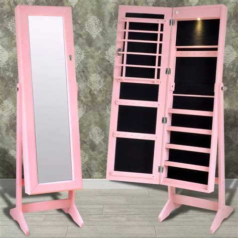jewelry cabinet mirror with led lights pink free standing jewelry cabinet with led light and