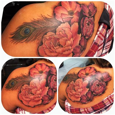 level up tattoo roses feather neo traditional level up