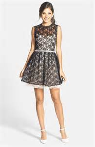 way in lace overlay fit amp flare party dress juniors