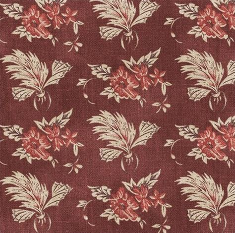 Fabric Cotton Civil War Album by Pam Weeks Red Floral Pattern