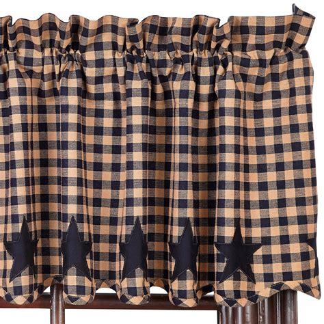 black country curtains star and check scalloped country curtain valance navy