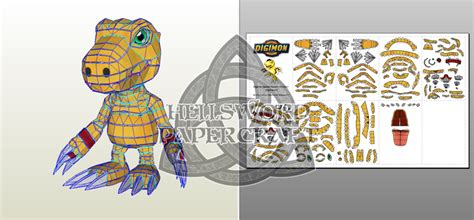 Digimon Papercraft - digimon agumon savers data squad papercraft by