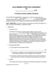 Member Managed Llc Operating Agreement Template Free Florida Single Member Llc Operating Agreement Form