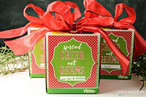 spread cheer  germs  kleenex printable christmas printables christmas gift tags