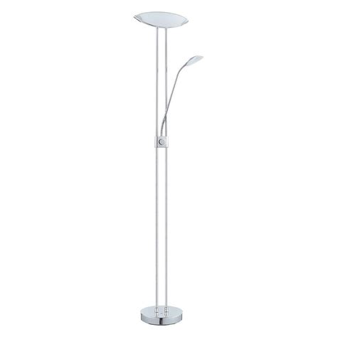 eglo baya 1 70 87 in chrome integrated led floor l