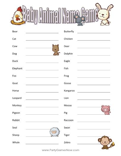 Printable Animal Guessing Game | baby animal guessing game printable baby shower games