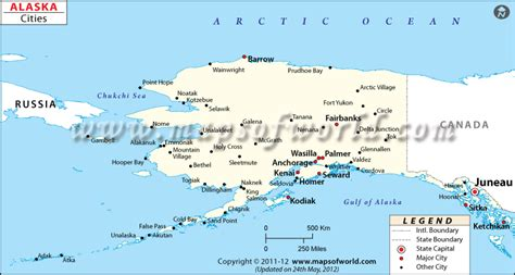 alaska usa map cities maps of alaska with cities and towns