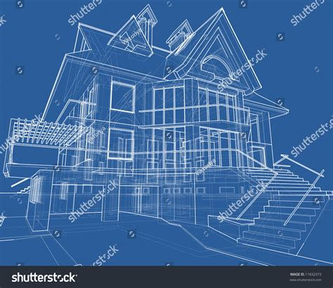 make a blue print house blueprint 3d technical draw stock illustration