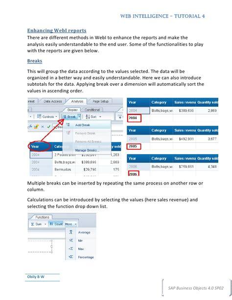sap tutorial web intelligence web intelligence tutorial4