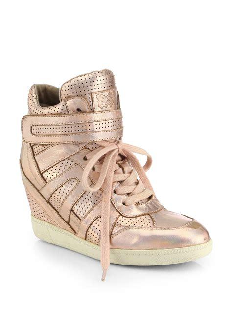pink wedge sneakers ash beck metallic leather wedge sneakers in pink rame lyst