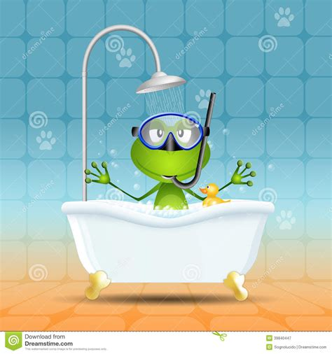 frog in bath with diving mask stock illustration image
