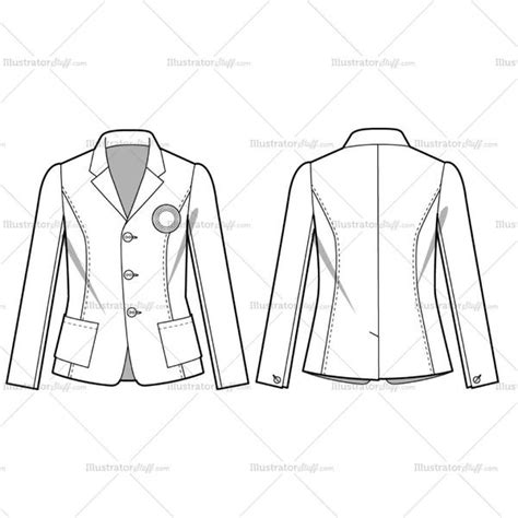 Women S Casual Blazer Fashion Flat Template Illustrator Stuff Fashion Flats Template