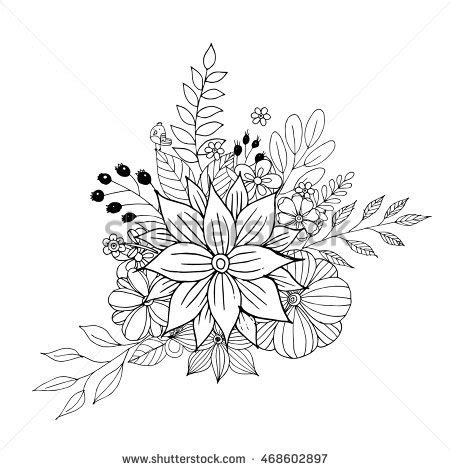 coloring pages of different types of flowers vector image beautiful bouquet different types stock