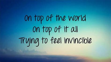 best song in the world top of the world lyrics