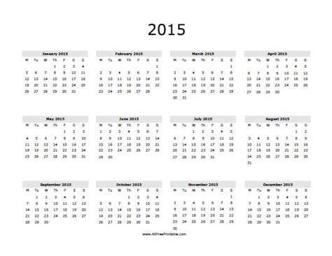 printable free yearly calendar 2015 2015 calendar free printable allfreeprintable com
