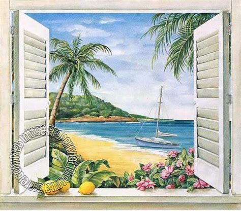 tropical wall mural tropical window wall mural themuralstore