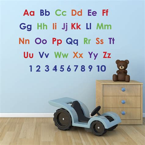 nursery wall stickers ebay alphabet and numbers wall stickers pack educational