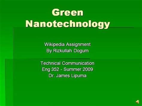 green nanotechnology authorstream
