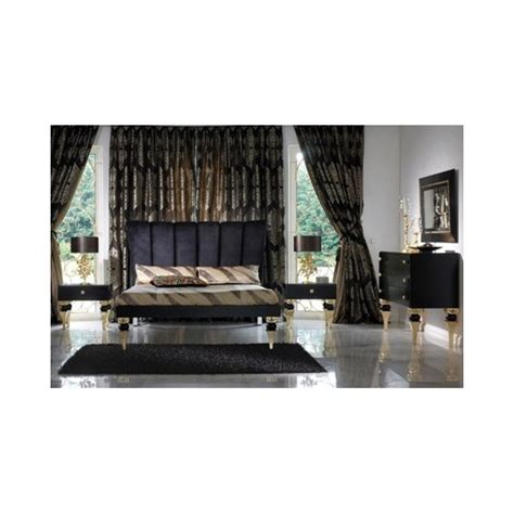 magnus black and gold leaf bedroom set collection