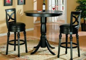 Dining Table With Bar Stools Black Finish Pub Table And Two Swivel Bar Stools Set