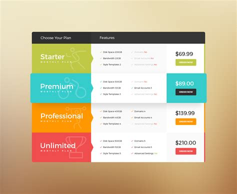 html layout vertical horizontal vertical pricing tables by thematek codecanyon