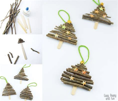 popsicle stick and twigs christmas tree ornaments easy