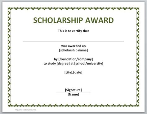 blank award certificate templates word downloadable certificate templates for scholarship award in word and open office format vlcpeque