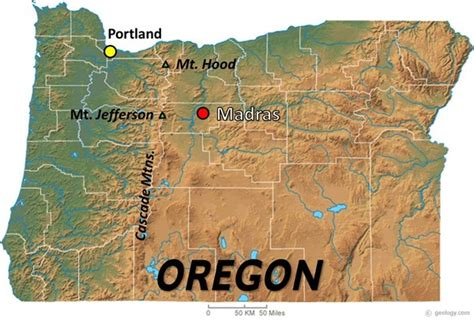 a physical map of oregon 2017 total solar eclipse madras map