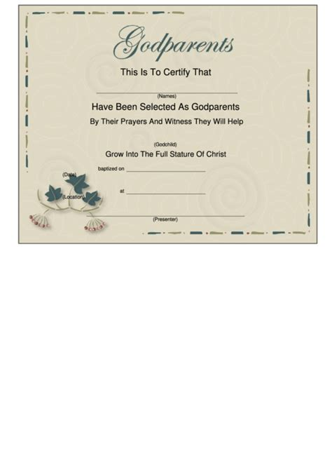 godparent certificate template top 13 godparents certificate templates free to
