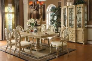 coronado antique white double pedestal dining table set hd 5800 homey design royal dining collection set