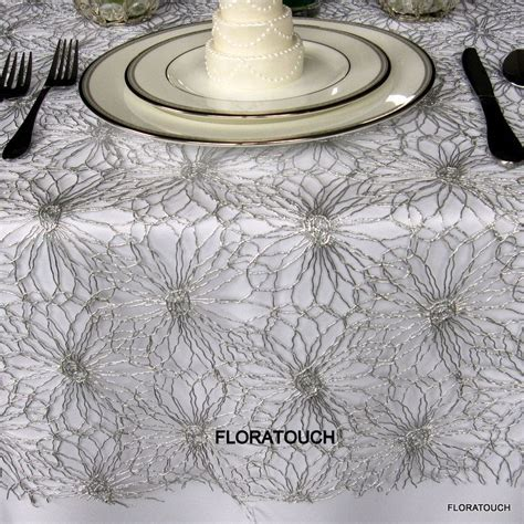 silver lace table overlay regal metallic lace wedding table overlay silver lace