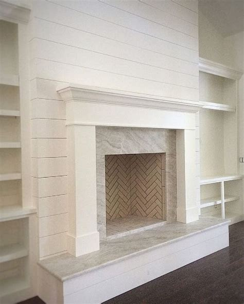 Ballard Designs Shelves fireplace makeover with marble and shiplap tips home decor