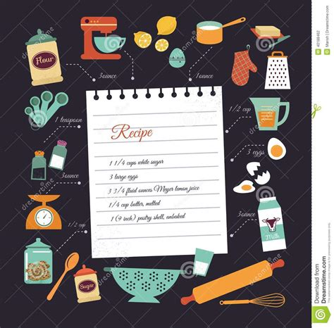 chalkboard recipe card template chalkboard meal recipe template vector design stock vector