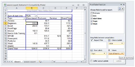 Pivot Table Exercises by New Material Advanced Microsoft Excel 2010