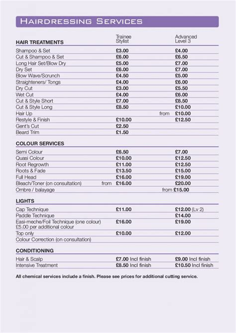 beauty price list bliss sandwell college