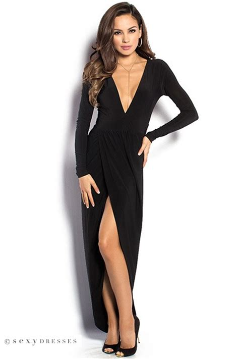 Irene Midi Ripped irene black sleeve maxi dress with plunging neckline
