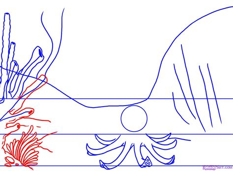 Sea Floor Drawing by How To Draw A Coral Reef Step By Step Other Landmarks