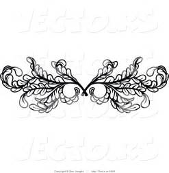 vector of black leafy swirl butterfly tattoo design