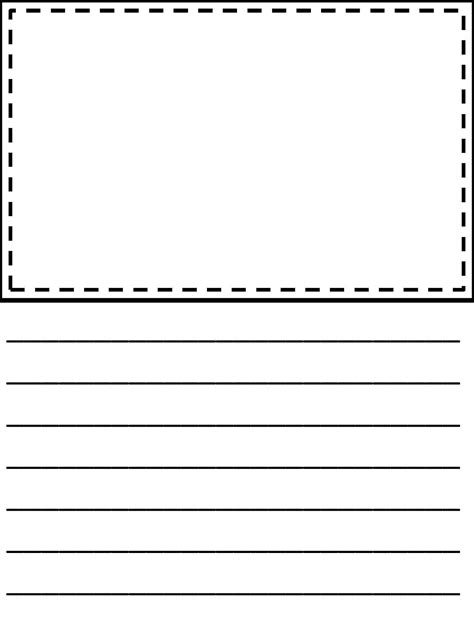 picture writing paper lined paper for with drawing box templates corner