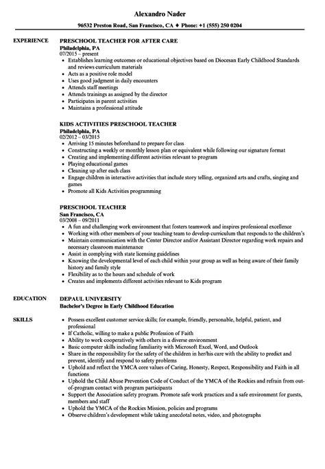 objective for preschool teacher resume 2015 resumes design