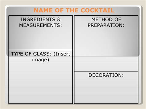 mixed drink recipe cards template for word cocktail template