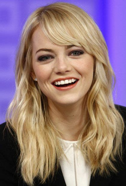 emma stone face shape the best hairstyles with bangs