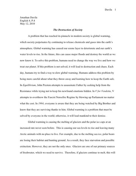 Global Essay by 1984 Global Warming Essay