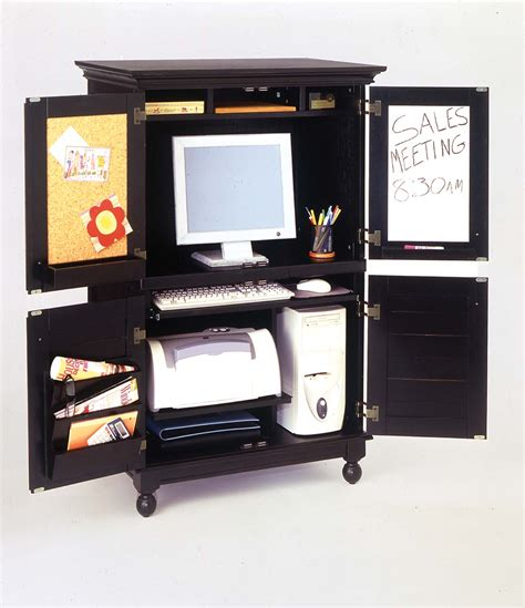 Distressed Computer Armoire Computer Armoire With Distressed Black Finish Free Shipping Today Overstock 11062994