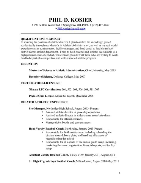 Athletic Director Cover Letter by Phil Kosier Resume For Athletic Director